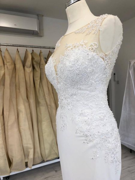 Wedding dress illusion top bust alterations