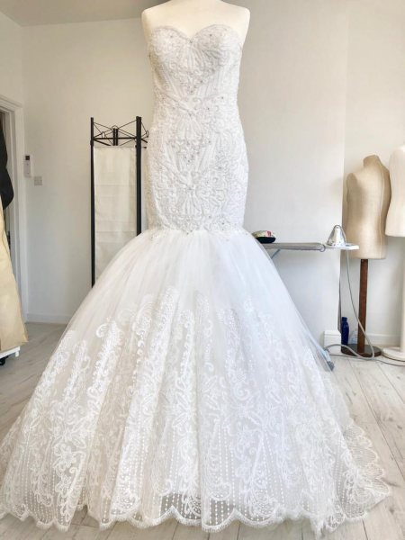 Wedding dress fit and flare gown alterations.