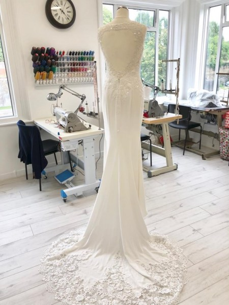 Fit and flare wedding dress alterations.