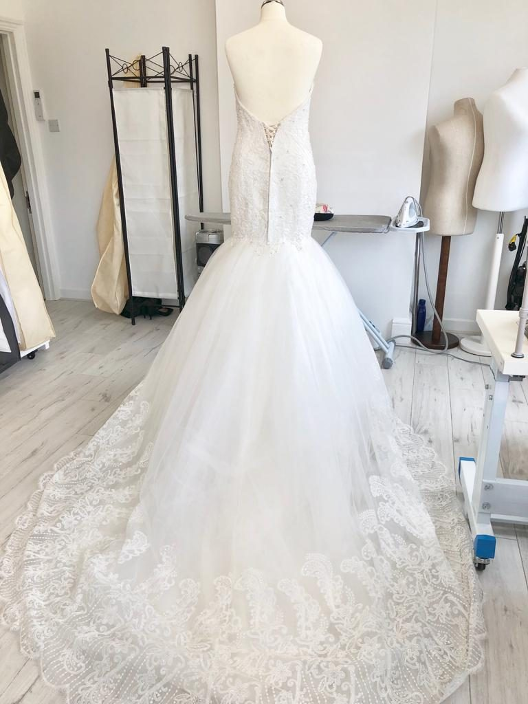 Fit and flare wedding dress alterations